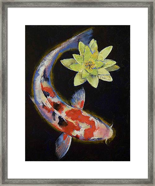 Koi With Yellow Water Lily Framed Print