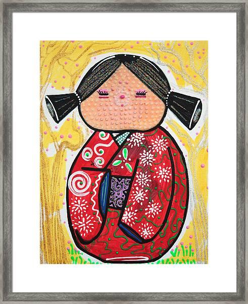 Kokeshi Framed Print by Laura Barbosa