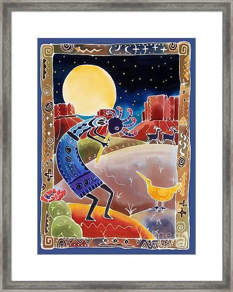 Kokopelli Sings Up The Moon Framed Print