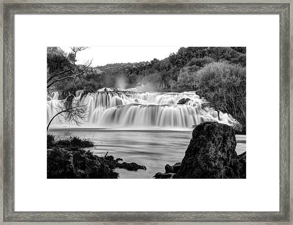 Krka Waterfalls Bw Framed Print