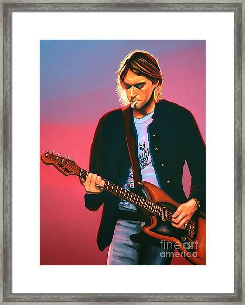 Kurt Cobain In Nirvana Painting Framed Print