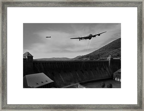 L For Leather Over The Eder Dam Black And White Version Framed Print