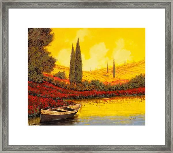 La Barca Al Tramonto Framed Print