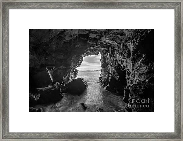 La Jolla Cave Bw Framed Print
