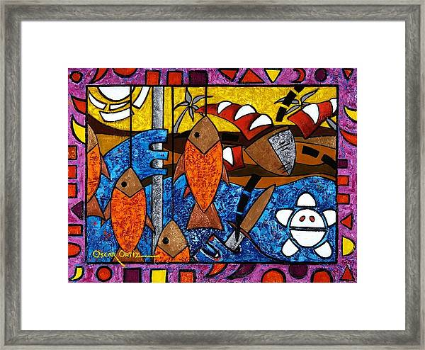 Framed Print featuring the painting La Pesca Virgen De Un Hombre Honrado by Oscar Ortiz
