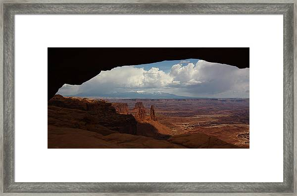 La Sal Mountains Through Mesa Arch Framed Print