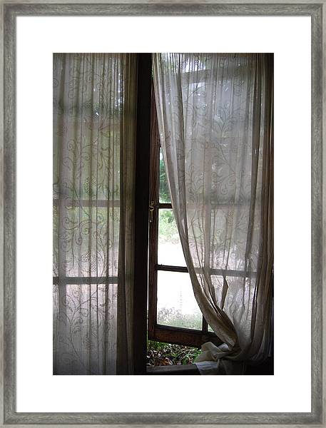 Lace Window Covering. Framed Print