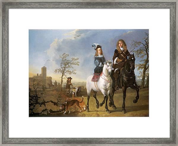 Lady And Gentleman On Horseback Framed Print