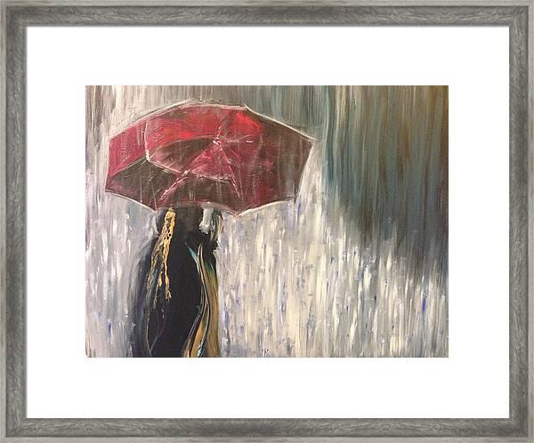 Lady In Rain Framed Print