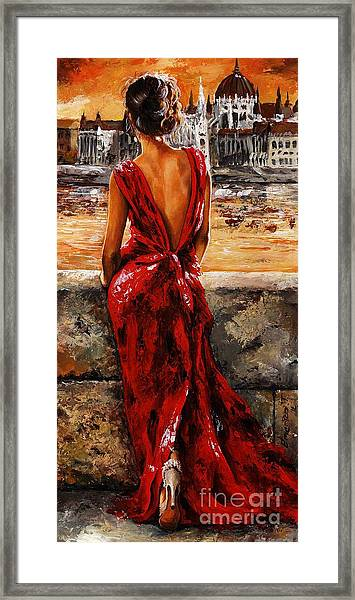 Lady In Red  34 -  I Love Budapest Framed Print