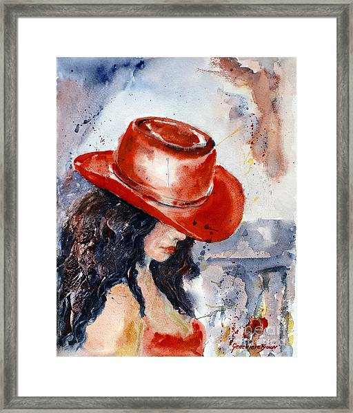 Framed Print featuring the painting The Red Hat by Genevieve Brown