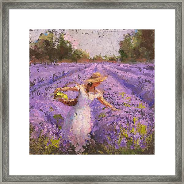 Woman Picking Lavender In A Field In A White Dress - Lady Lavender - Plein Air Painting Framed Print