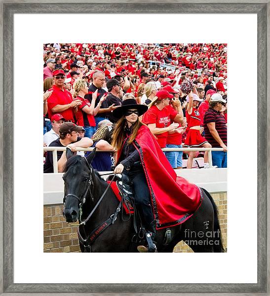 Lady Masked Rider Framed Print by Mae Wertz