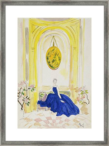 Lady Mendl Wearing A Blue Dress Framed Print