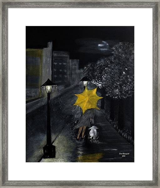 Lady With Yellow Umbrella And White Dog Framed Print