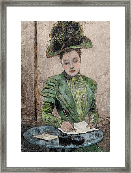 Lady Writing A Letter Framed Print
