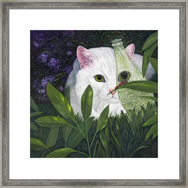 Ladybugs And Cat Framed Print
