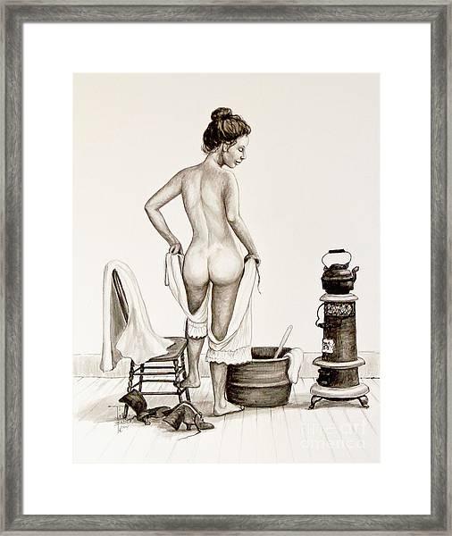 Lady's Bath 1890's Framed Print