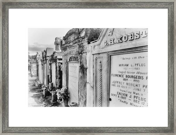 Lafayette Cemetery Black And White Framed Print