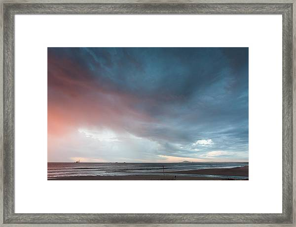 Lagoon Mouth Sunset Framed Print
