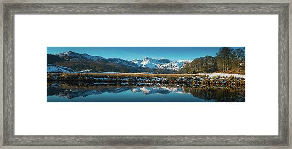 Lake District Snowy Winter Mountain Framed Print by Fotovoyager