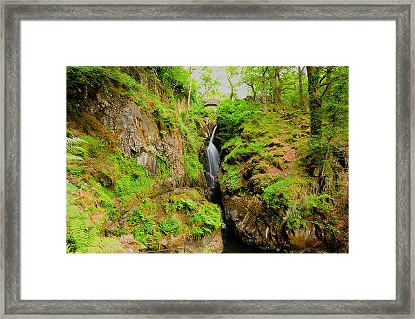 Lake District Waterfall Aira Force Waterfall Ullswater Valley Cumbria England Uk  Framed Print