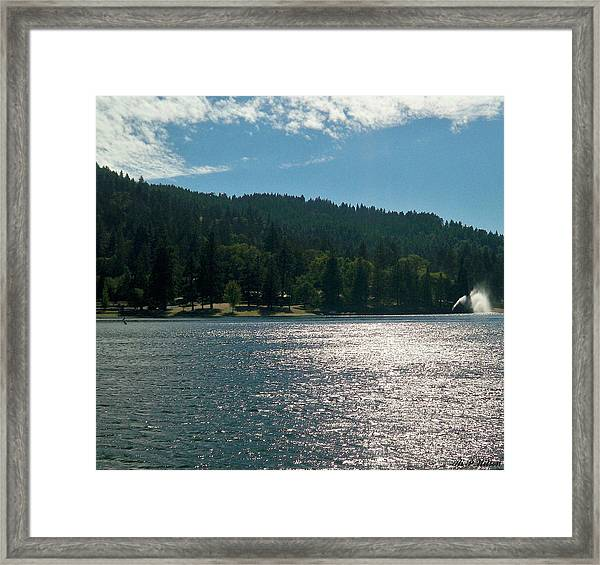 Scenic Lake Photography In Crestline California At Lake Gregory Framed Print