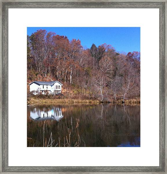 Lake House Blue Sky Framed Print