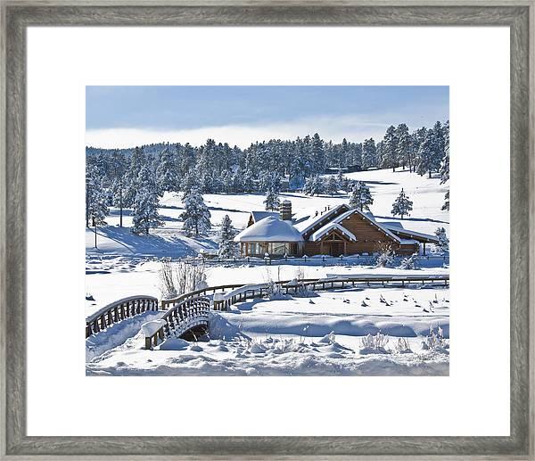 Lake House In Snow Framed Print