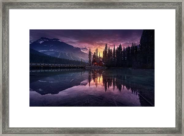 Lake House Sunrise Framed Print