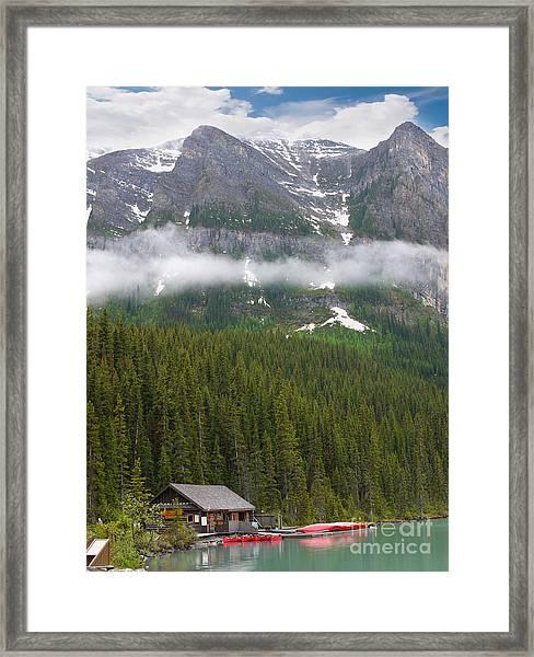 Lake Louise Cabin Framed Print