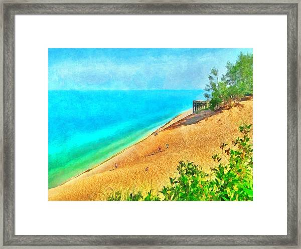 Lake Michigan Overlook On The Pierce Stocking Scenic Drive Framed Print