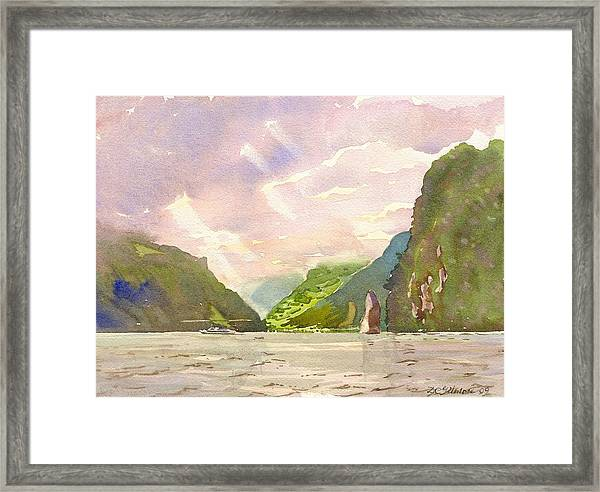 Lake Of Uri With Schiller Stone Framed Print