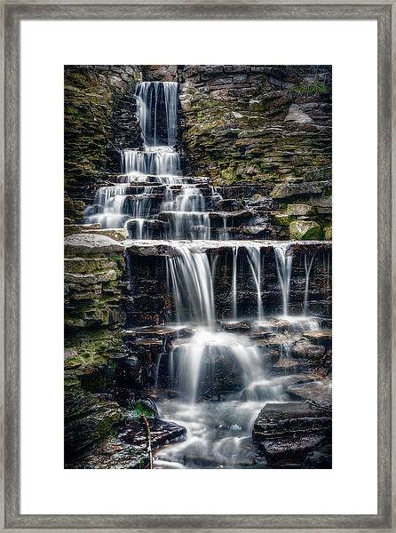 Lake Park Waterfall Framed Print