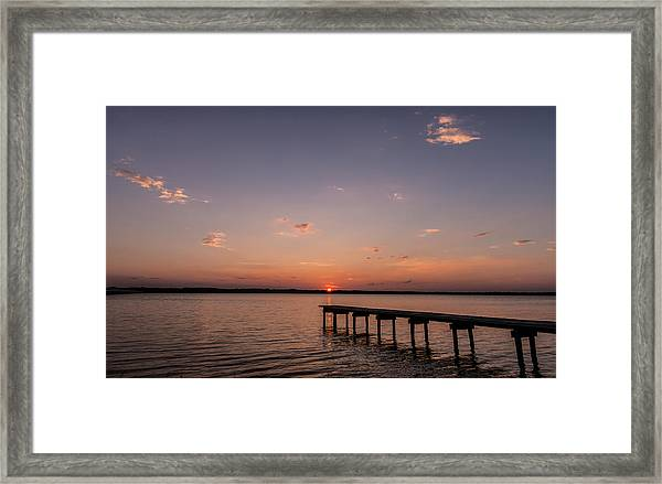 Lake Sunset Over Pier Framed Print