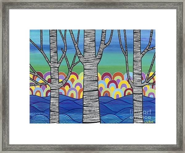 Framed Print featuring the painting Lake View by Carla Bank