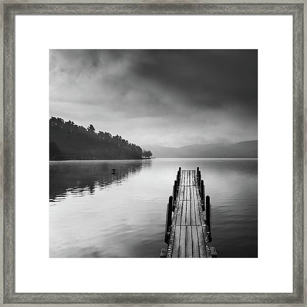 Lake View With Pier II Framed Print