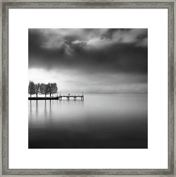 Lake View With Trees Framed Print