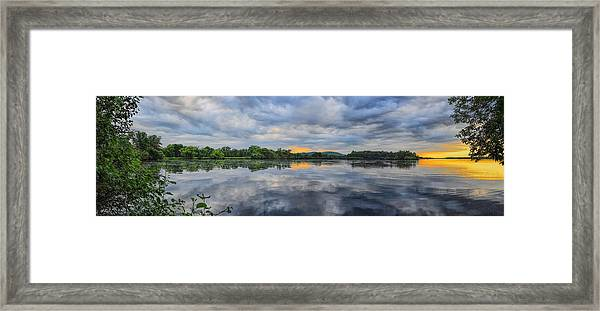 Lake Wausau Summer Sunset Panoramic Framed Print