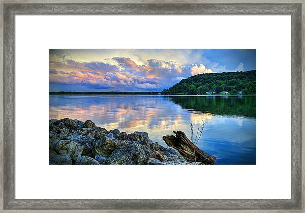 Lake White Sundown Framed Print