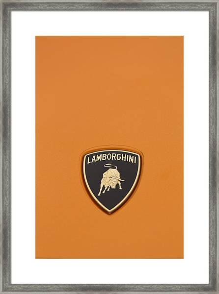 Lambo Hood Ornament Orange Framed Print