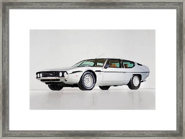 Lamborghini Espada Watercolor Framed Print