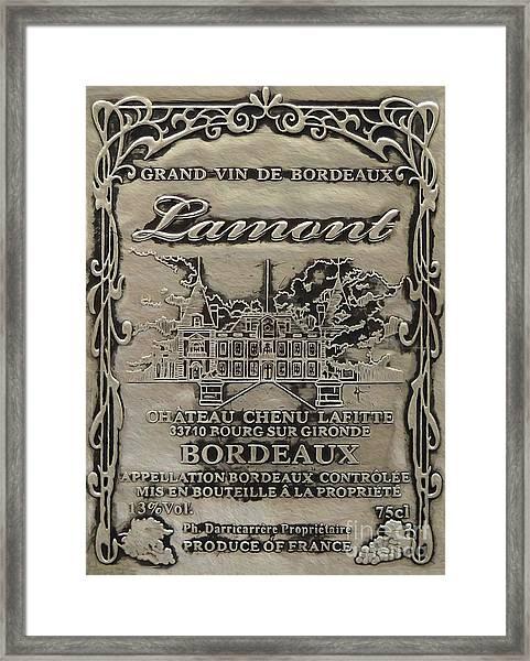 Lamont Grand Vin De Bordeaux  Framed Print