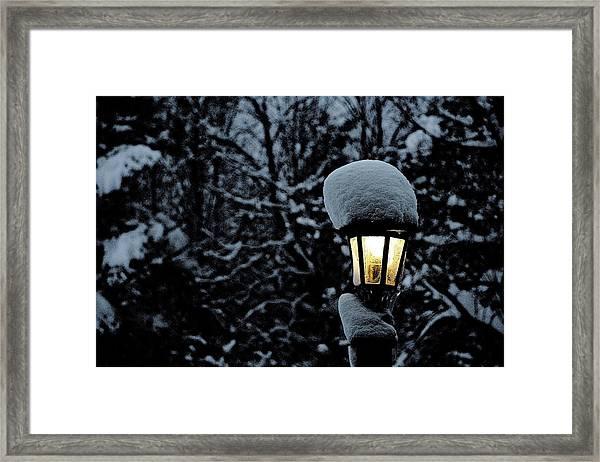 Lamp Light In Winter Framed Print by Carolyn Reinhart