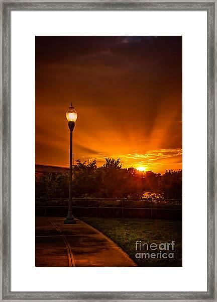Lamp Post Sunset Framed Print