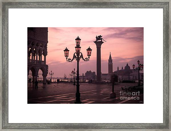 Lamppost Of Venice Framed Print