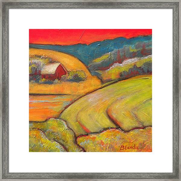 Landscape Art Orange Sky Farm Framed Print