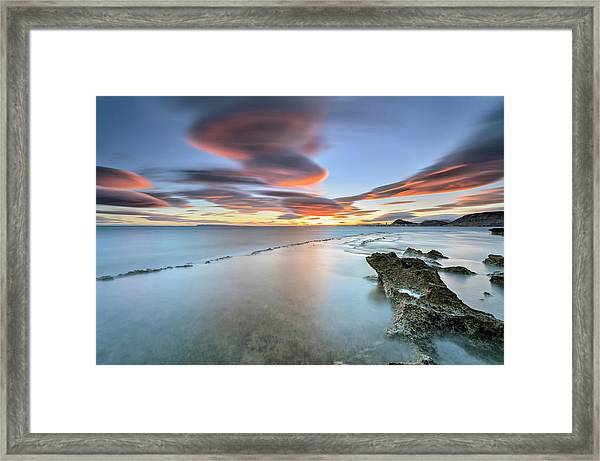 Landscape In The Sea With Clouds Framed Print