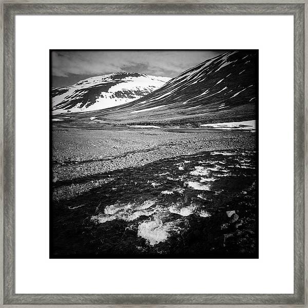 Landscape North Iceland Black And White Framed Print