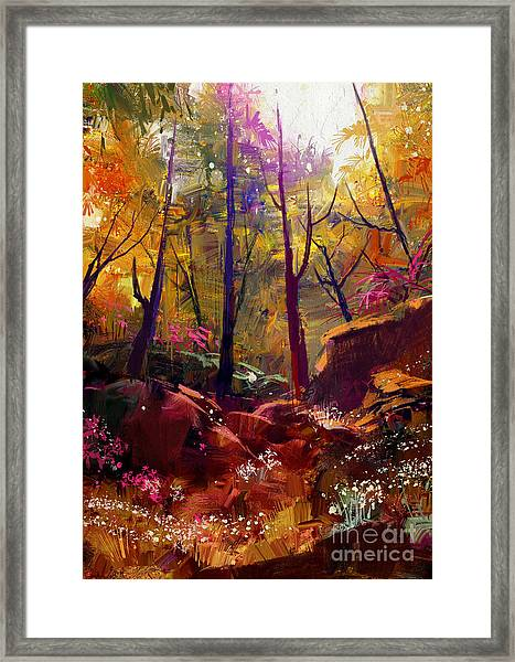 Landscape Painting Of Beautiful Autumn Framed Print